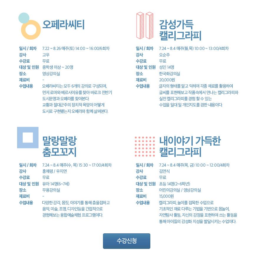 2017 상반기 예술아카데미 수강생 모집